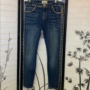 """ The Crop Skinny"" Brass Stud Jeans"